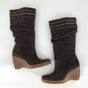 Gianni Bini Tall Brown Suede Slouch Boots NEW